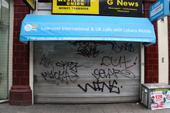 graffiti on a shop front in London